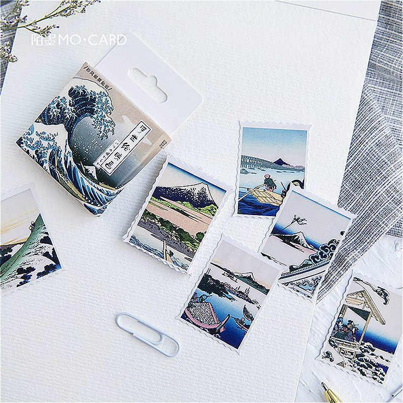 1PCS Kawaii Ukiyo Pittura Memo Pad Plaid e Linee Sticky Note di Carta Cancelleria Adesivi Delicati Bookmark Post-it Etichetta