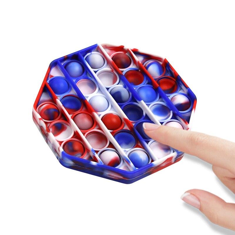 Цвет вытолкнуть его беспокойная игрушка пуш-ап поп-пузырь сенсорными Антистресс игрушка силиконовые резиновые для аутизма снятие стресса ...