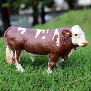 Image 5 - Oenux Animali da Fattoria Mucca Simulazione Bovino Vitello Bull OX Action Figures Modello Selvaggio Buffalo Figurine PVC Giocattolo Educativo Per Il Capretto regalo