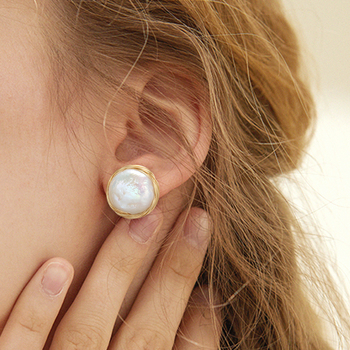 Coeufuedy Classic Big Pearl Stud Earring Baroque Freshwater Pearl Earrings For Women Party Wedding Gift Fine Jewelry Handmade [nymph] fine jewelry long tassel pearl earrings natural big baroque pearl drop earrings for women party e321