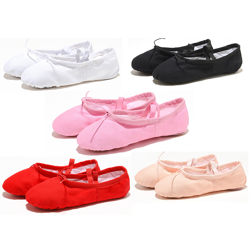 USHINE 5 Colors Cloth Head Exercising Shoes Pink Yoga Practice Slippers Gym Children Canvas Ballet Dance Shoes Girls Woman Kids