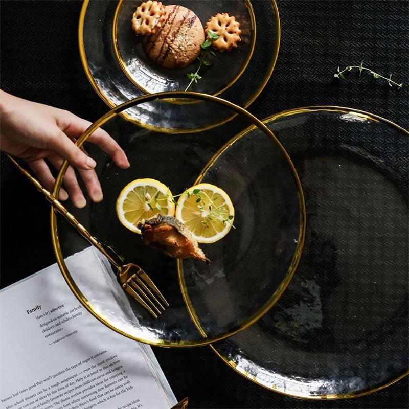 Стеклянная тарелка с золотыми инкрустациями для еды, фруктовый десерт, салат для торта, контейнер для хранения пасты, основное блюдо в стиле вестерн, посуда|Блюдца и тарелки|   | АлиЭкспресс - Красивая кухня