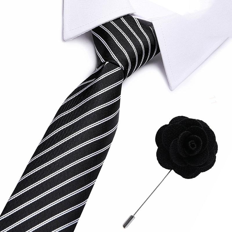 Fashion Neckties Classic Men's Stripe Blue Black Wedding Ties Jacquard Woven 7.5 Cm 100% Silk Men Tie Formal Dress Accessories