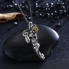 GOMAYA New Store S925 Silver Retro Personality Trend Skull Necklace Clavicle Jewelry Pendants