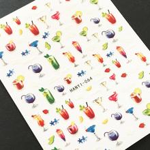 Newest HANYI-64 3d nail manicure back glue decal decarations stickers