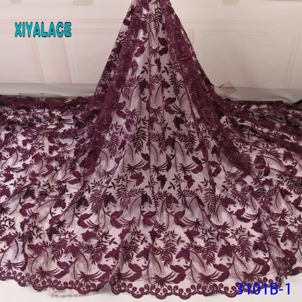 2019 New Design With Sequins African Lace Fabric High Quality Nigerian Lace Fabric For Garment For Wedding Dress French Lace