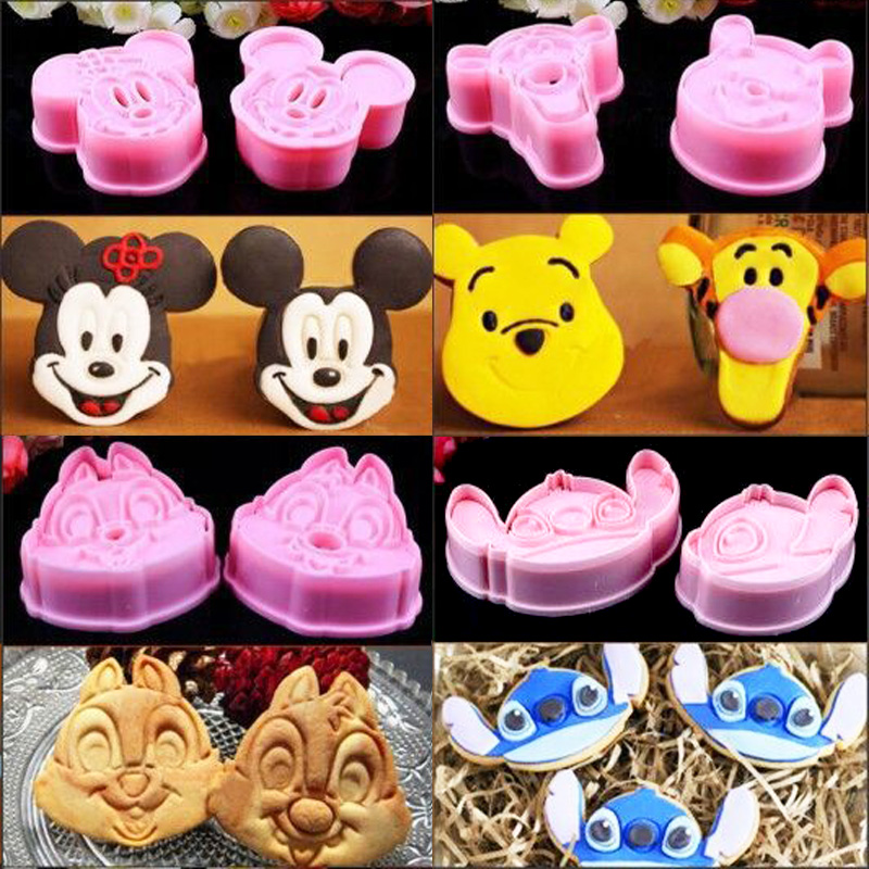 A Pair Of Disney Cookie Cutters Mickey Mouse Winnie The Pooh Tigger Stitch Squirrel Party Cookie Mold Kitchen Baking Tools