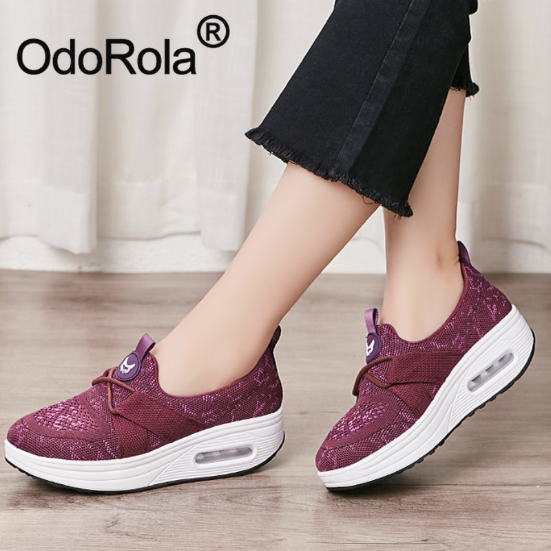 Platform Sneakers Women Wedges Shoes Slip-on Loafers Casual Shoes Air Cushion Body Slimming Shaking Shoes Running Shoe Tennis