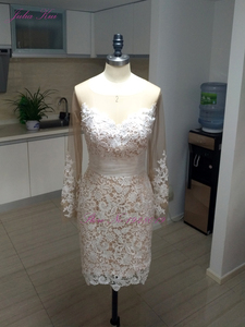 Image 5 - Julia Kui Elegant Lace Of 2 In 1 Mermaid Wedding Dresses Beach With Detachable Skirt Long Sleeve Bride Dress