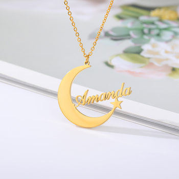 Custom Name Necklaces For Women Moon Star Charm Choker Personalized Crescent Pendant Nameplate Statement Jewelry