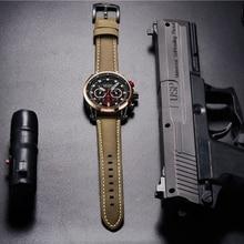 MEGIR Men Sports Watches Top Brand Luxury Leather Quartz Watch Men Clock Waterproof Army Military Wristwatches Relogio Masculino