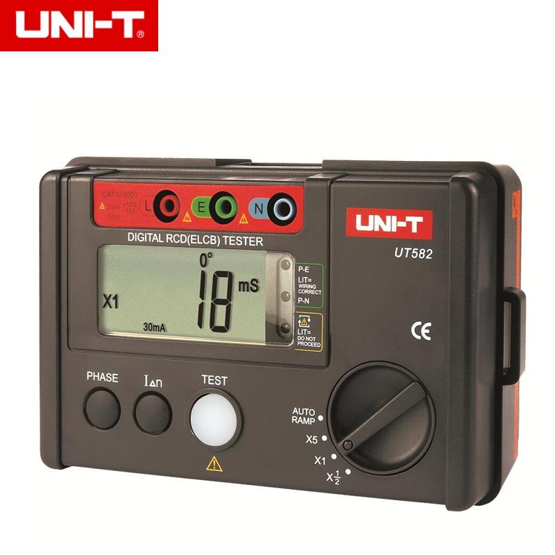 Compteur automatique de disjoncteur de fuite de rampe d'appareil de contrôle de RCD (ELCB) de Digital UT582 de UNI-T avec la sonnerie de mauvais fonctionnement