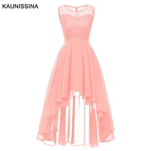 Image 3 - Kaunissina vestidos de cocktail feminino assimétrico chiffon renda banquete vestido de festa sólida volta zíper vestidos de baile