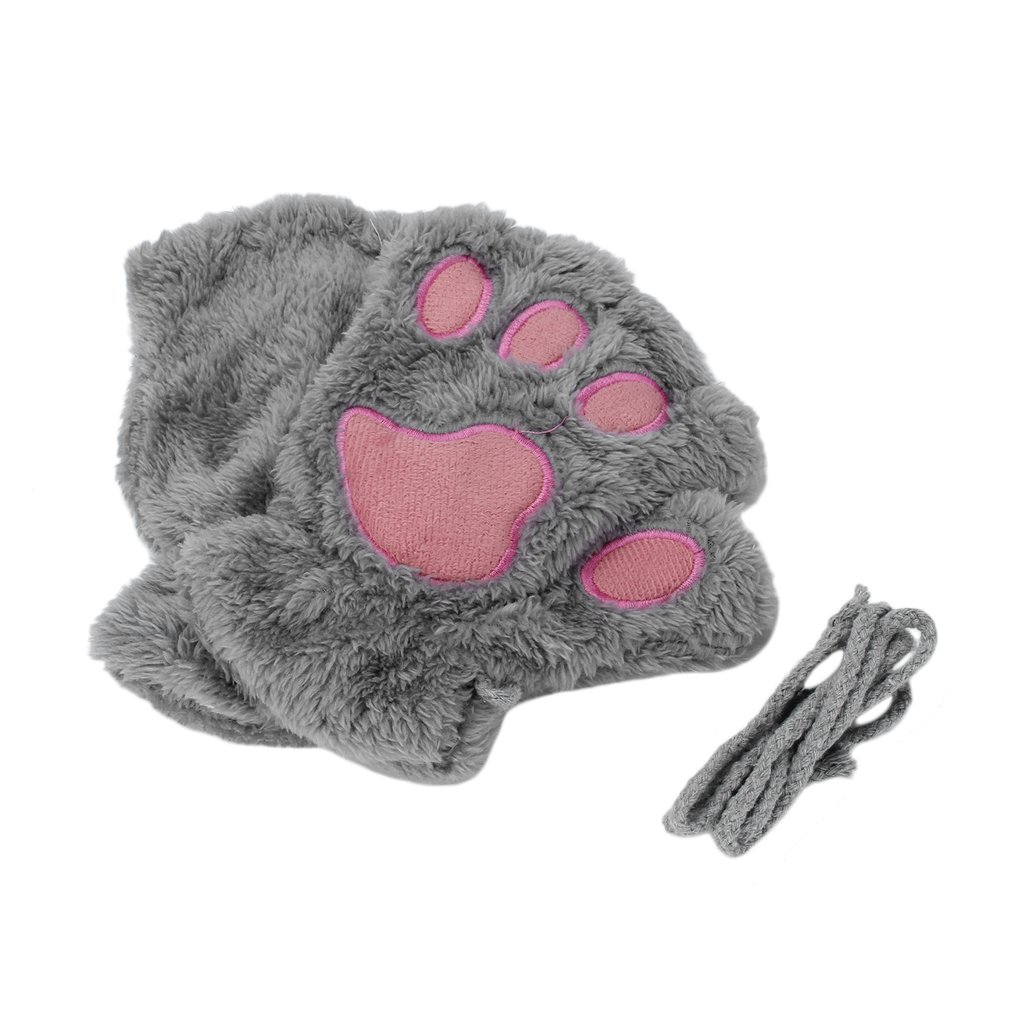 Winter Warmth Fingerless Plush Gloves Fluffy Soft Warm Stylish Cute Animal Paw Half Finger Covered Gloves For Women Girls