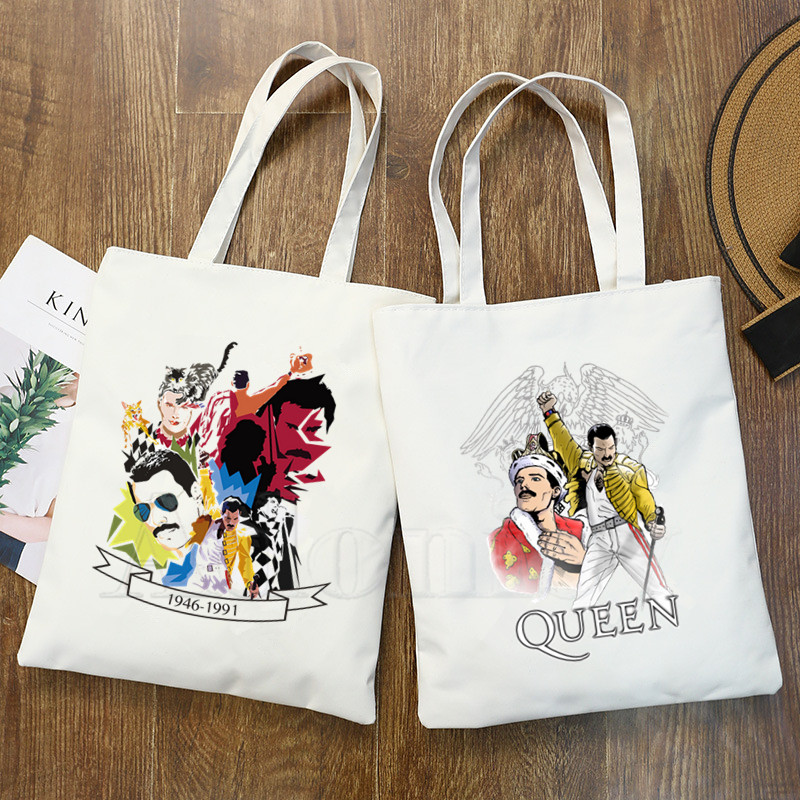 The Queen Band Freddie Mercury Print Reusable Shopping Bag Women Canvas Tote Bags Printing Eco Bag Cartoon Shopper Shoulder Bags