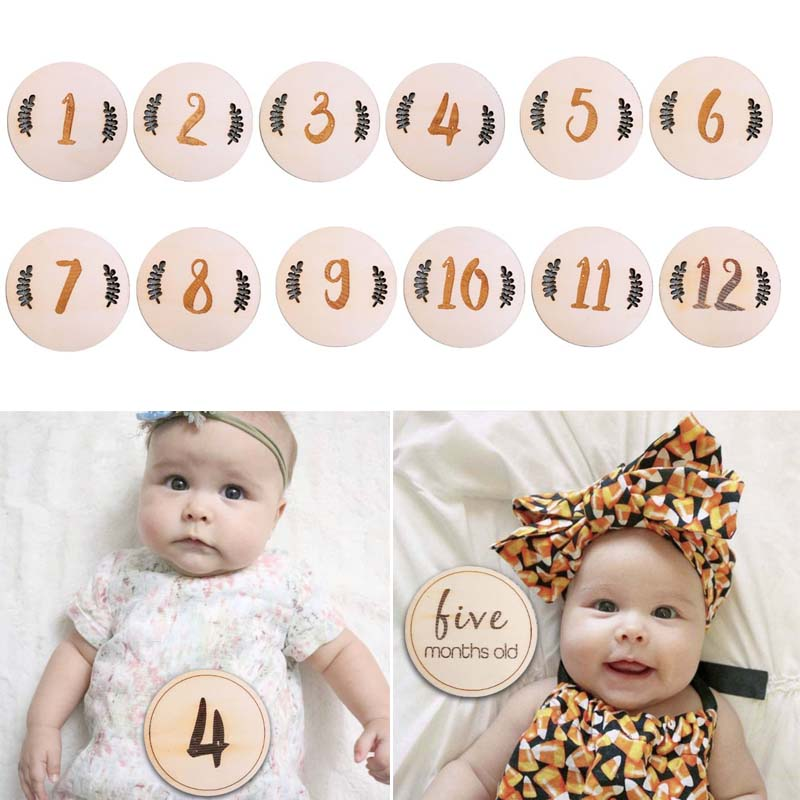 12 Pcs/set Nordic Style Baby Birth Month Number Birthday Commemorative Milestone Card Newborn Full Moon Photography Props