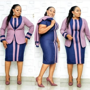 African plus size mother's dress striped button small suit jacket and two-piece dress