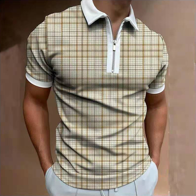 2021 Summer New Twill Men Polo Shirt Short Sleeve Oversized Loose Zipper Color Matching Clothes Luxury Male Tee Shirts Trip 3