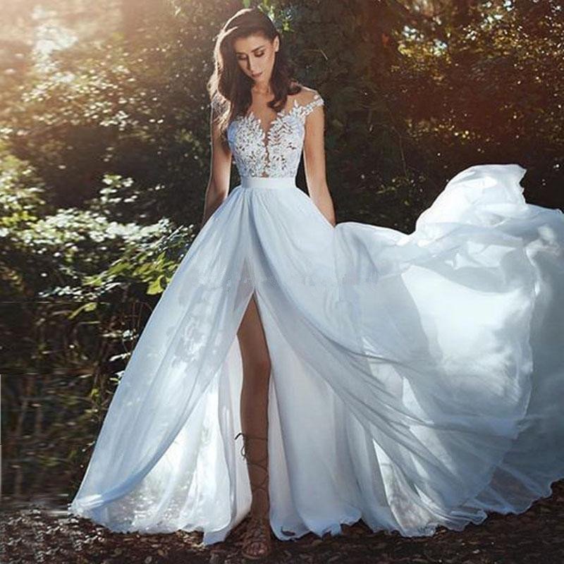 Beach Wedding Dresses A-line Cap Sleeves Chiffon Appliques Lace Slit Boho Cheap Wedding Gown Bridal Dresses