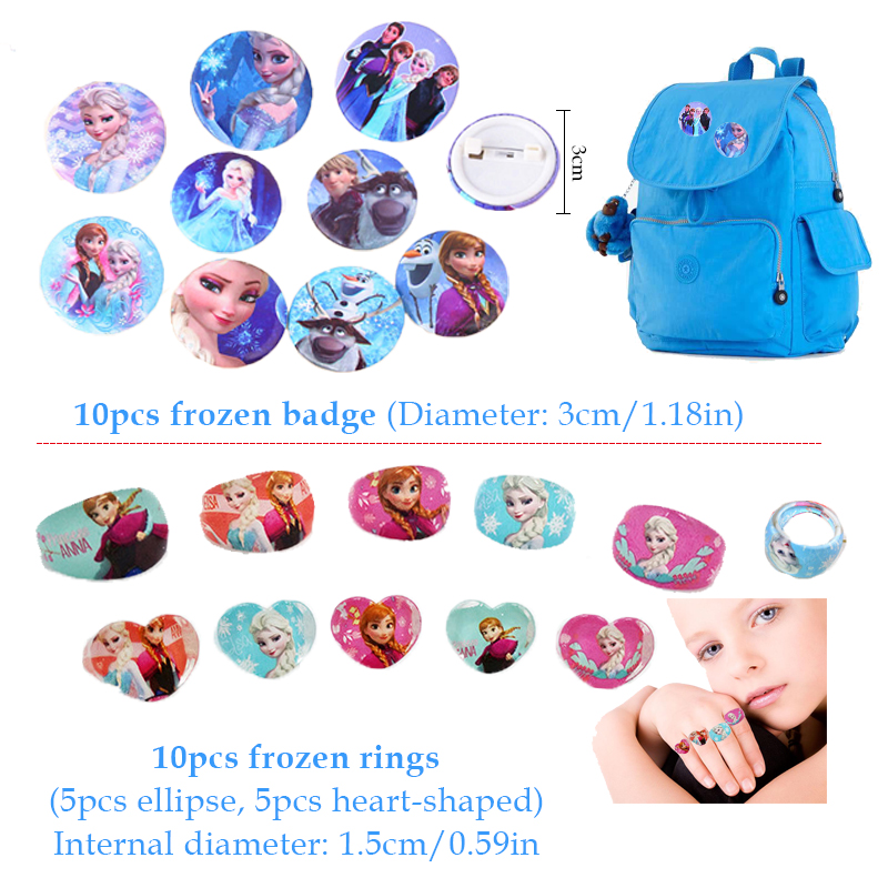 Image 3 - 60pcs Frozen Party Favors For Kids Birthday With Frozen Love Bracelet/Rings 3D Disney Bubble Stickers Baby Shower Gifts Bags Christmas-in Party Favors from Home & Garden