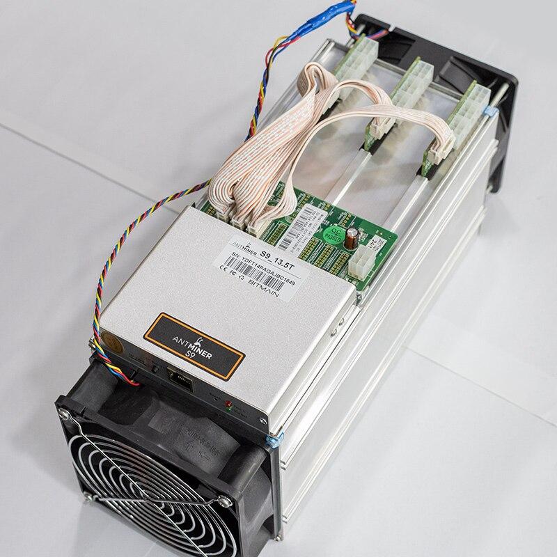 Używane Asic BTC Antminer S9 90% nowa koparka bitcoinów 13.5Th górnictwo SHA-256 algorytm 13.5Th/dla zużycia Spower 1323W T9 + S9K