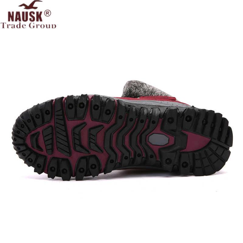 NAUSK ใหม่รองเท้าบู๊ทคุณภาพสูงหนัง Suede ฤดูหนาวรองเท้าผู้หญิงรองเท้าอุ่นรองเท้าบู๊ตหิมะกันน้ำ Botas mujer