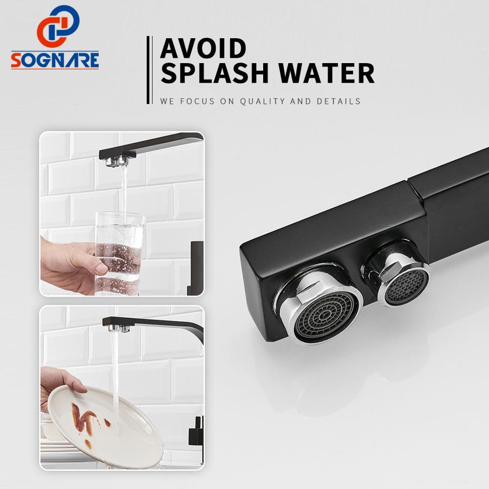 Noir carré robinets de cuisine 360 degrés Rotation 3 voies filtre à eau robinet robinets d'eau en laiton massif cuisine évier robinet mélangeur d'eau - 4