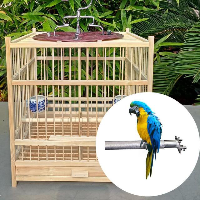 Stainless steel Birdcage Stands Bird Perch Parrot Stainless Steel Bird Standing Rod Teether M Bird cage Bird supplies 4