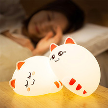 7 colors cute cat lamp colorful light silicone cat night lights children usb led night lamp bedroom rechargeable touch sensor Colorful Cat Led Night Light Animal Light Usb Rechargeable Silicone Soft Cartoon Touch Light Children Night Lamp Bedroom Light