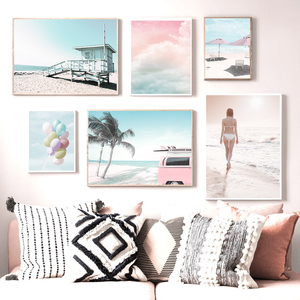 Beach Ocean Car Coconut Tree Balloon Girl Wall Art Canvas Painting Nordic Posters And Prints Wall Pictures For Living Room Decor