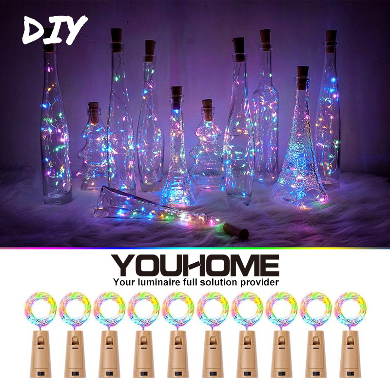 5/10packs LED Wine Bottle Lights 2M 20LEDs Waterproof LED Cork Light DIY Wedding Party Christmas Halloween Decor Battery Powered