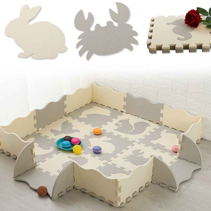 Puzzle Exercise Play Mats Set Crawling Mat Interlocking Foam Floor Tiles For Baby Toddlers M09