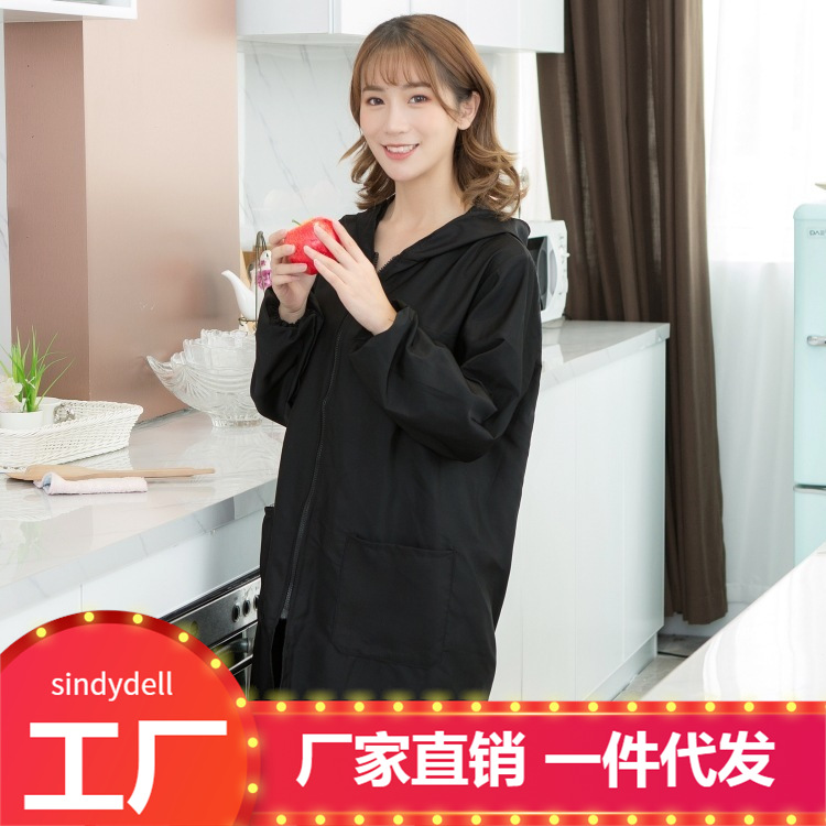 Work Clothes Long Sleeve Overclothes Adult Kitchen Waterproof Oil Resistant Hooded Protective Clothing WOMEN'S Apron Korean-styl
