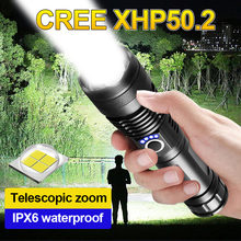 Rechargeable LED Flashlight USB Torch Light CREE XHP50 Most Powerful Tactical Flashlight 18650 Bright Waterproof Zoom Hand Lamp
