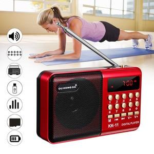 Mini Portable Radio player Handheld Digital FM USB TF MP3 Music Player Speaker Rechargeable
