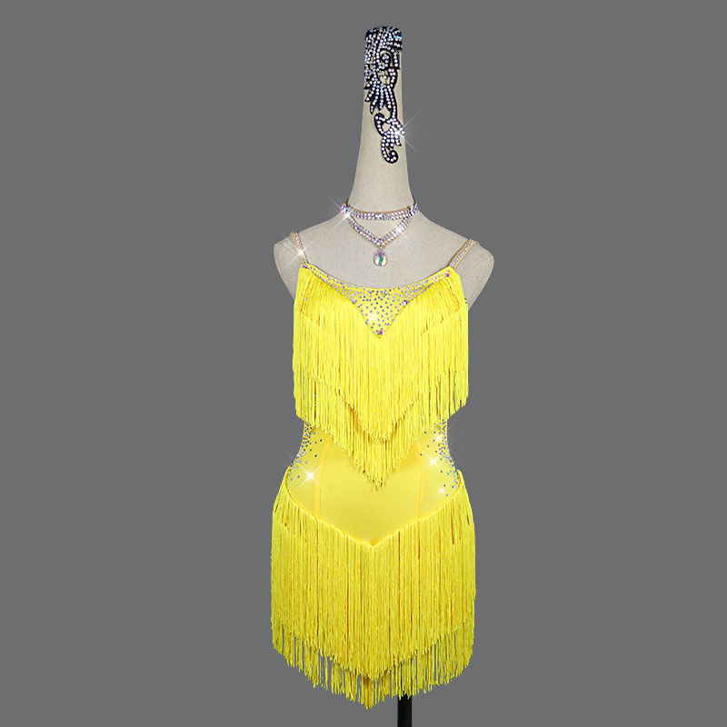 2020 Women Latin Dance Dress For Women Yellow Thick Tassels Fringe Dress Stage Dance Costume Competition Latin Dresses Customize