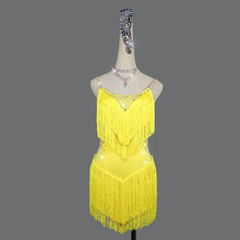 Dance-Dress Competition Yellow Tassels Latin Women for Thick Stage Customize