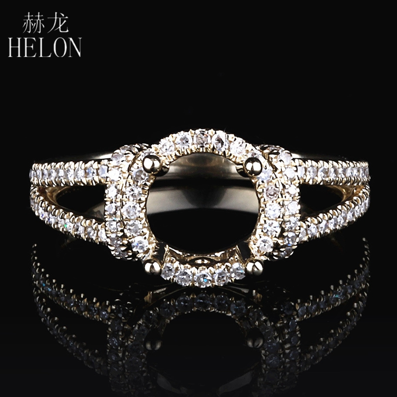 HELON Round Cut 6.5-7.25mm Solid 14k Yollow Gold AU585 Pave 0.32ct Natural Diamonds Wedding Semi Mount Ring For Women Jewelry