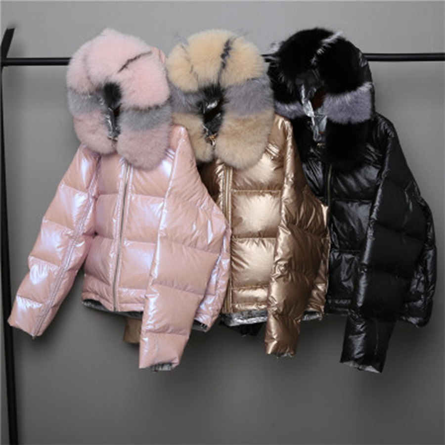 Hooded   Down     Coats   Women Winter Wear On Both Sides Fashion Loose Hem Irregular Glossy Parka   Coat   Female Short Warm Ladies Jackets