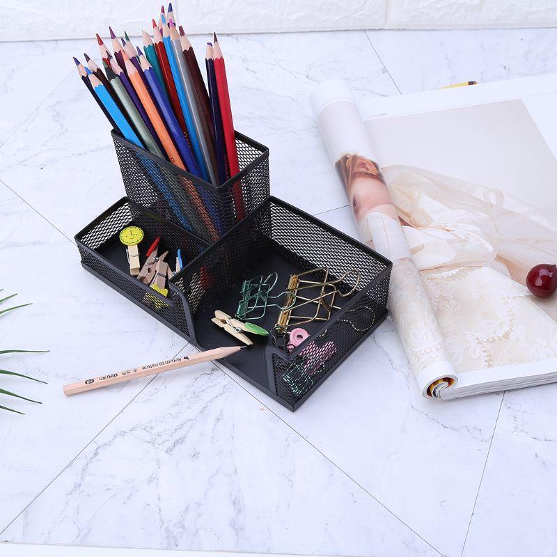 Metal Mesh Office Desktop Organizer Pen Pencil Box Stationery Holder Case Black AXYF
