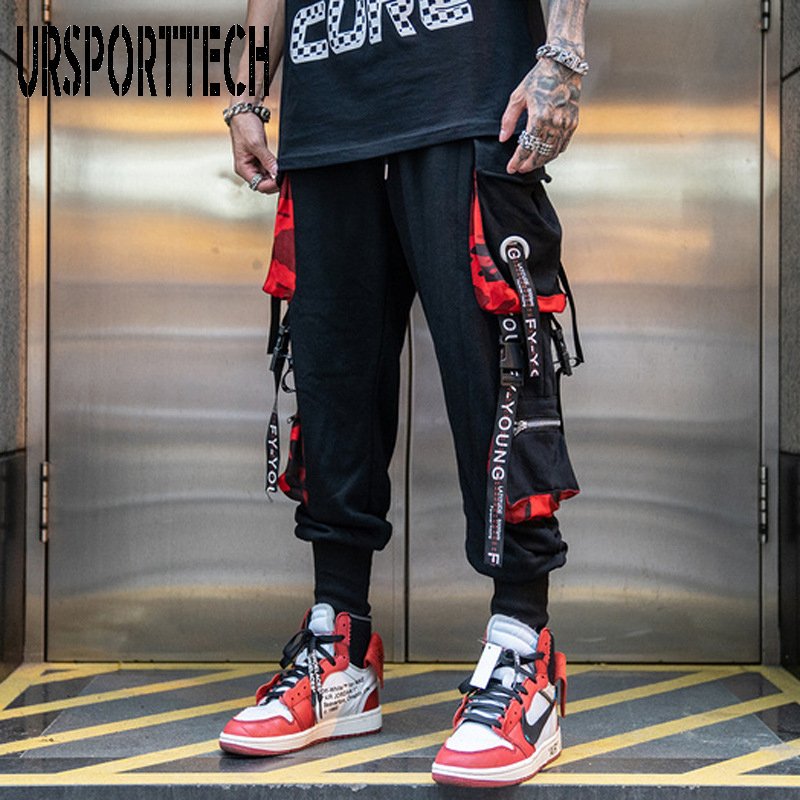 Hip Hop Joggers hommes lettre rubans Cargo pantalon poches piste tactique décontracté Techwear homme pantalon de survêtement Sport Streetwear