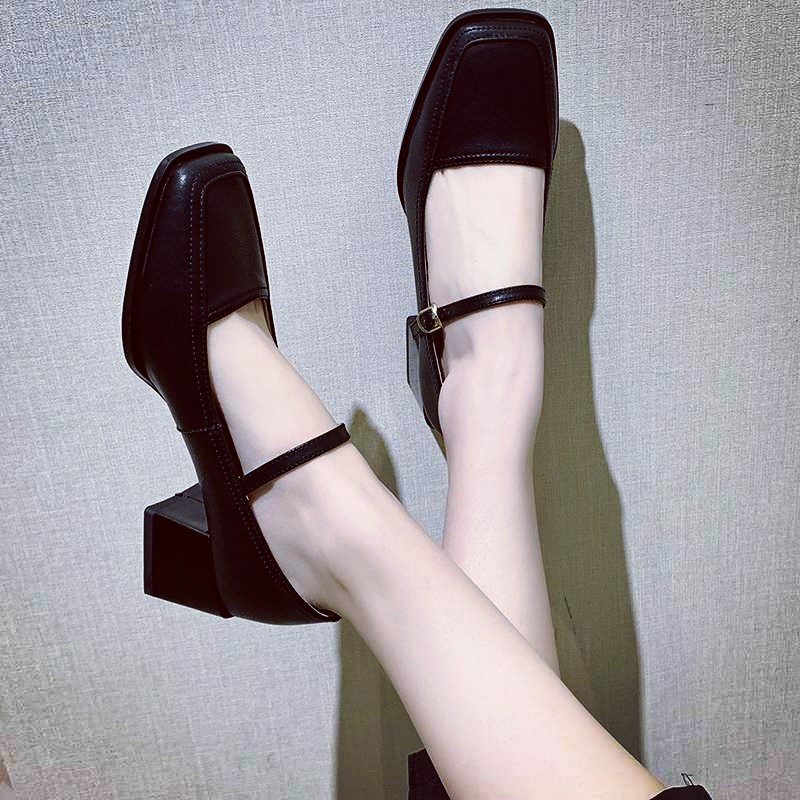 EOEODOIT Women Retro Marry Jeans Pumps Shoes Med Heel Square Toe Buckle Shoes Spring Summer Sandals Leather Pumps