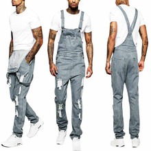 цена Mens Hole pocket Jeans Overall Jumpsuit Streetwear Overall Suspender Pants subjoin Letter Print Short Sleeve T-Shirt Top M0920 онлайн в 2017 году