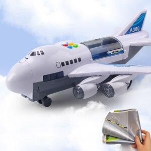 Image 2 - 音楽ライトシミュレーショントラック慣性子供のおもちゃ航空機大サイズ旅客機子供旅客機おもちゃの車無料ギフトマップ