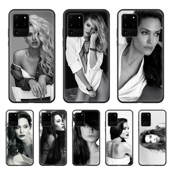 Celebrity Angelina Jolie beauty Phone Case cover hull For SamSung Galaxy S 6 7 8 9 10 20 Plus Edge E 5G Lite Ultra black bumper image