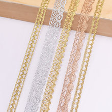 5/10 jardas diy ouro prata rendas guarnições bordado tecido laço fita casamento festa festiva presente embalagem vestuário acessório flor