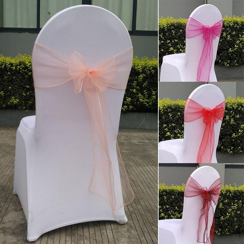 25pcs Chair Knot Wedding Party Banquet Supplies Chair Sashes Organza Wedding Chair Back Decoration