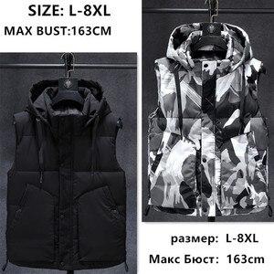Image 1 - Inverno sem mangas jaqueta 2019 quente preto camuflagem chapéu com capuz casaco casual com capuz plus size 6xl 7xl 8xl estudantes magros blusão