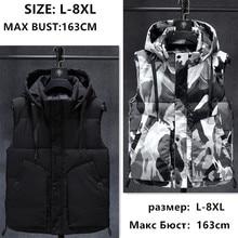 Winter Sleeveless Jacket 2019 Warm Black Camouflage Hat Hooded Casual Coat Hoody Plus Size 6XL 7XL 8XL Slim Students Windbreaker