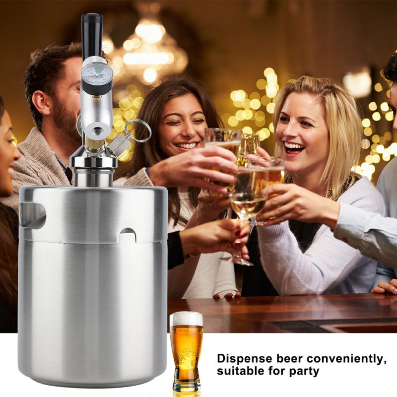 2L Mini Beer Keg Homebrew Keg Mini Air pressure Faucet Home Brewing Craft Beer Dispenser Home Beer Making Accessories set image